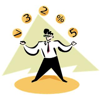 Clip-art of a person juggling numbers