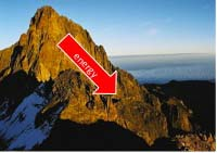 Mountain with red arrow