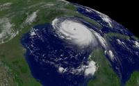 Oblique satellite view of Hurricane Katrina.