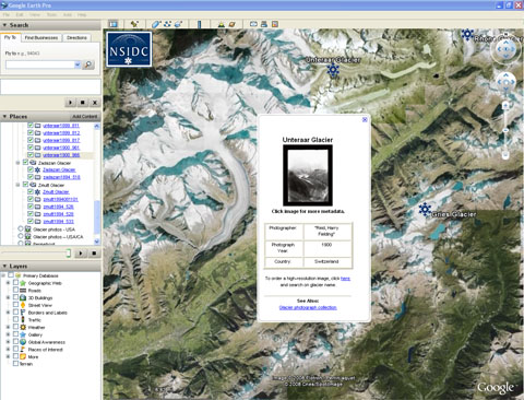 Google Earth with National Snow and Ice Data Center data