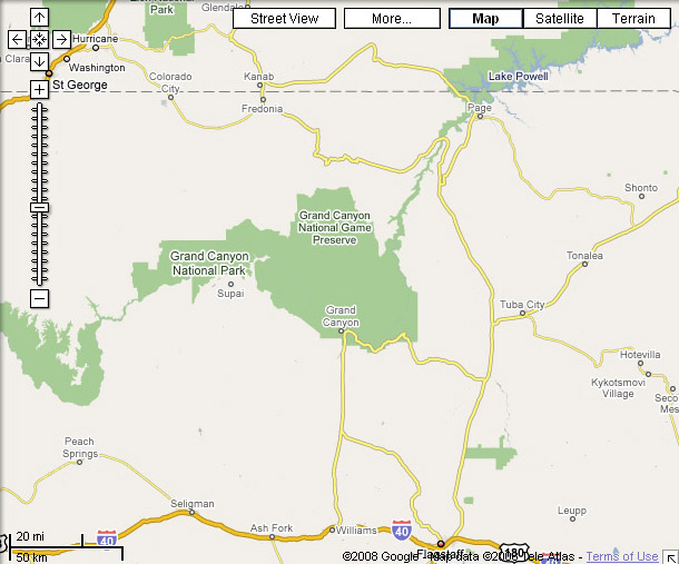 Google Maps - Grand Canyon in Map View